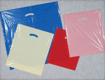 DIE CUT HANDLE COLORED POLY BAGS